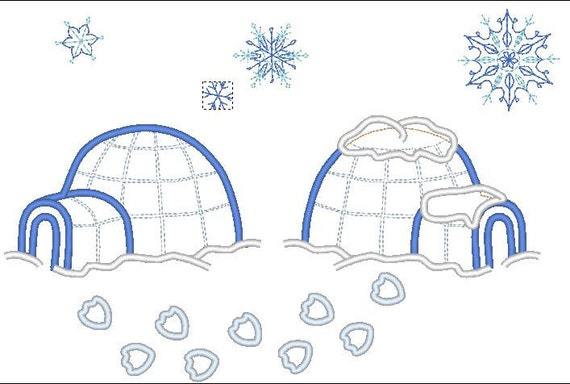 Penguin houses, igloo - machine embroidery applique and fill stitch designs - 4x4, 5x7 and 6x10  INSTANT DOWNLOAD