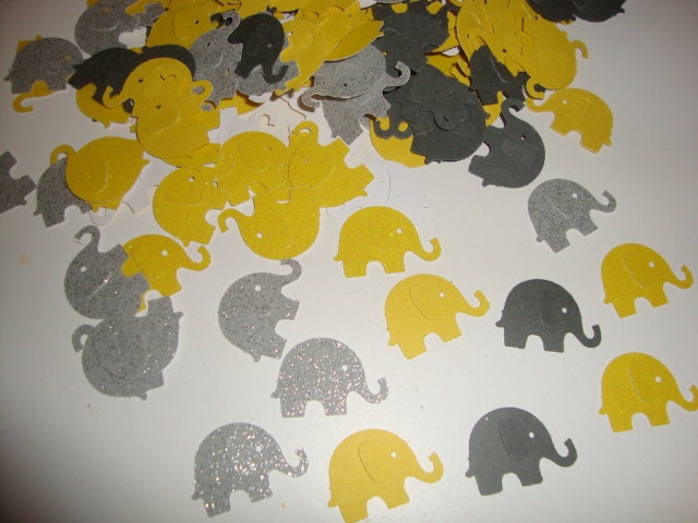 100 yellow and gray elephant confetti unisex baby by jessicasue34