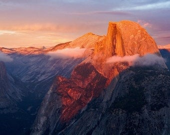 "Sunset at Half Dome in Yosemite National Park, CA - ""Half Dome Aflame"""
