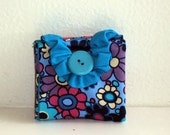 Tea Bag Wallet - Blue, Purple and Pink Flowers
