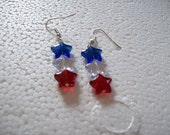 Store Closing Sale - Red, White and Blue star earrings
