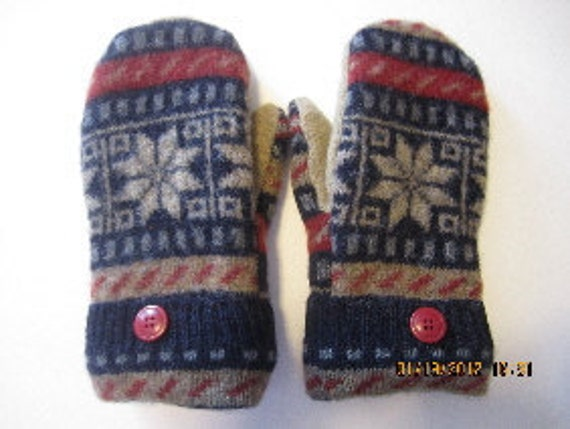 Felted Wool Mittens made from Recycled (Upcycled) Sweaters Fleece Lined Adult Small Blue Tan Burgundy Snowflake Star