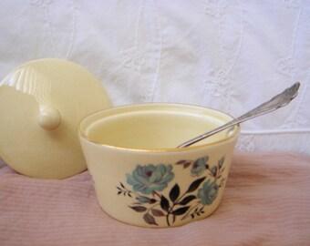Vintage Transferware Periwinkle Roses Sugar Bowl