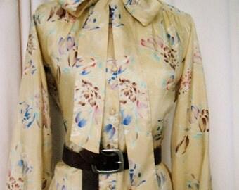 Vintage Tie-Neck Floral Bow Blouse