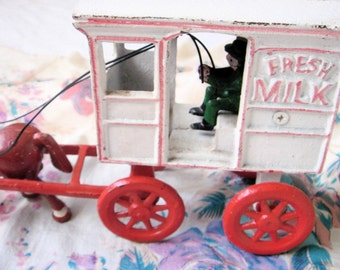 Vintage Cast Iron Horse and Milk Cart