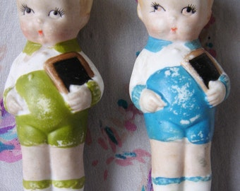 Vintage 1940's Bisque School Boy Dolls