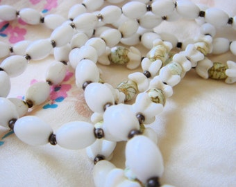 Vintage W. Germany Milk Glass Necklace and Earrings