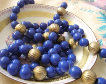 Vintage Glass  Bead Necklace-Blue