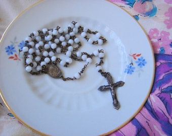 Vintage Milk Glass Bead Rosary-Belgium