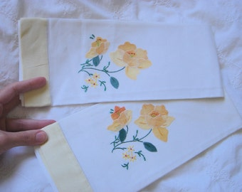 Vintage Embroidered Cotton Towels with Yellow Trim