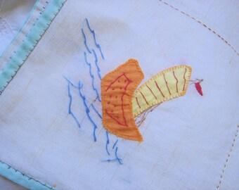 Vintage Patchwork Linen Tablecloth-Sailboats