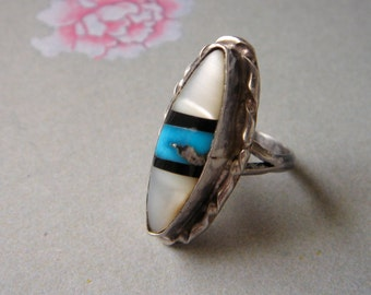 Vintage Mother of Pearl and Turquoise Ring