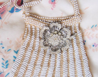 1920's Flapper Beaded Bag-Cream and White