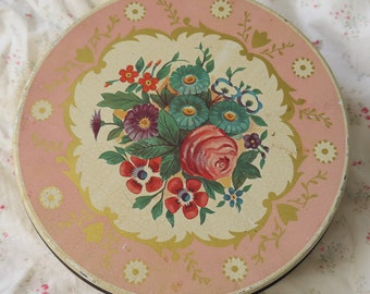 Vintage Pink Floral Tin Canister-Shabby Chic