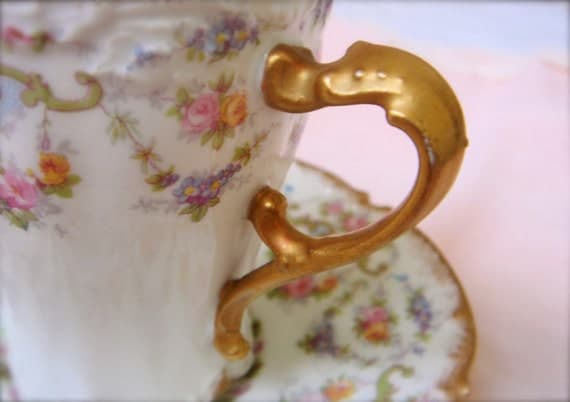 Antique French Limoges Floral Gilded Chocolate Cups-Set of FoursRESERVED