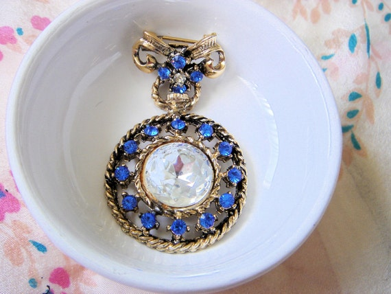 Vintage Watch Fob Rhinestone Brooch