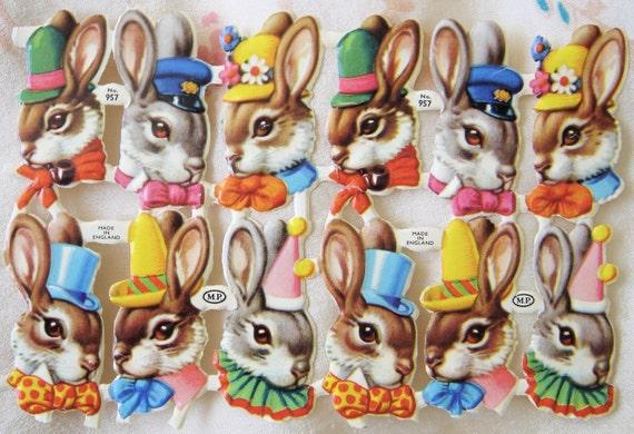 Vintage Die Cut Fancy Rabbits-England