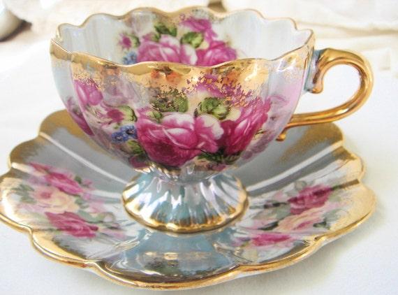 Vintage Royal Halsey Footed Teacup-Floral