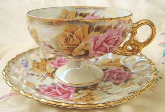 Vintage Royal Sealy Footed Teacup-Lusterware, Floral