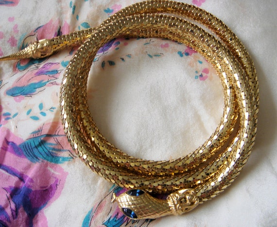 RESERVED -Vintage Whiting and Davis Style Glam Snake Belt-Gold