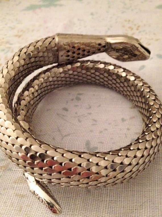 Vintage Whiting and Davis Boho Glam Snake Bracelet-Silver