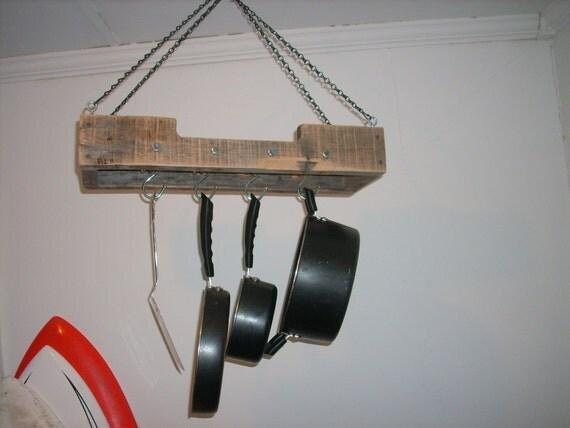 Small Reclaimed Wood Rustic Hanging Pot Rack