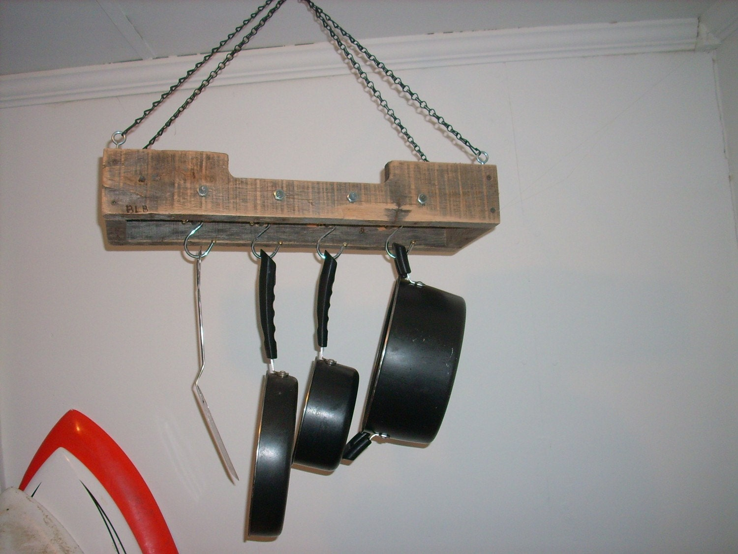 Small Reclaimed Wood Rustic Hanging Pot Rack