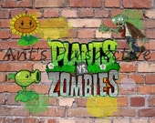 PLANTS vs ZOMBIES Graffiti Style art print 8x10 photo