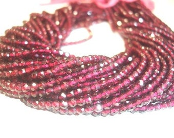 1full 14 Inches Rhodolite Garnet Micro faceted fine quality3-3.5mm approx...