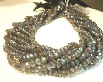 1 Full 14Inches full strand -- Super Fire --  Labradorite- Micro Faceted Roundels - 3-4mm Approx