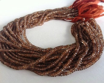 14 Inches --Very Beautiful--,great color--Full Strand--TOP Grade -Andalusite Garnet-- Micro Faceted Rondell 3.5-4mm Approx A Grade