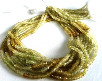 AAA Fine Quality,Faceted Grossuler /Green Garnet Rondlles -Full Strand approx.14 inch...