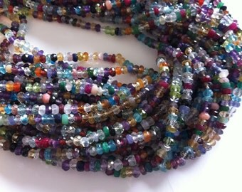 Full Strand of Multi Mix Gemstones All Natural-- --Faceted 2-3mm Approx -Great Cut,Color and Clearity....