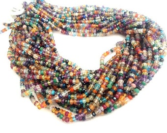 "14"" Inches --1Full Strand of Multi Mix Gemstones Rondelles 2.5-3mm Approx -Great Cut,Color and Clearity...."