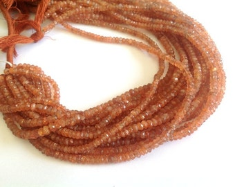 14 Inches --full Strand---- Rare Natural Sun stone -- Micro Faceted Roundels - Size 4mm Approx...