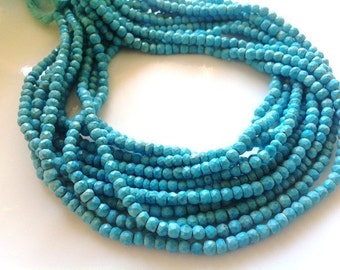 Full 14inch --- Turquoise Micro Faceted Roundels -Size3-3.5mm Approx --Best Quality