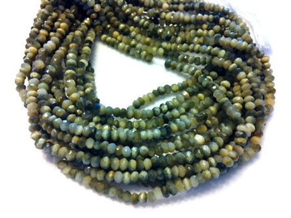 Gorgious Green Rare CATSEYE Micro Faceted 3 mm Rondelle 1 fFULL Strand From BeadMall