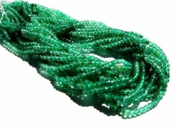 """High Grade Shaded Green Onyx micro faceted rondelles Full 14"""" inch strand 3.5mm size"""
