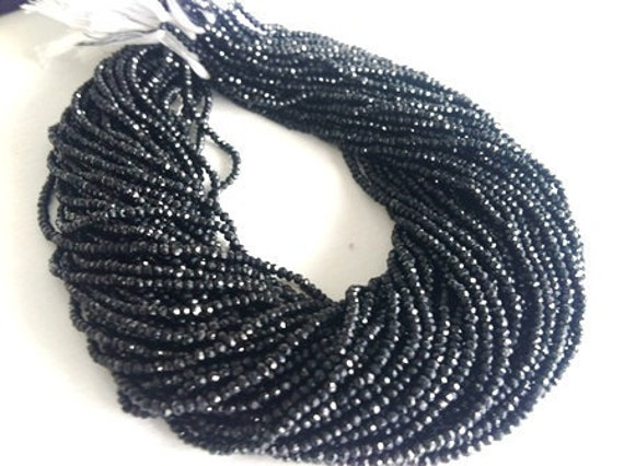 Bulk  --Strands of very very rare A grade Genuine Black Spinal  Rondelles2-3mm Approx --BestQuality