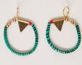 SALE Dangly blue-green zebra pattern hoop earrings with antique brass pendant