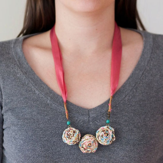 ON SALE -Fabric rosette silk necklace - So elegant in a flowery print