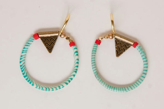Cyber Monday -Dangly turquoise blue zebra pattern hoop earrings with antique brass pendant