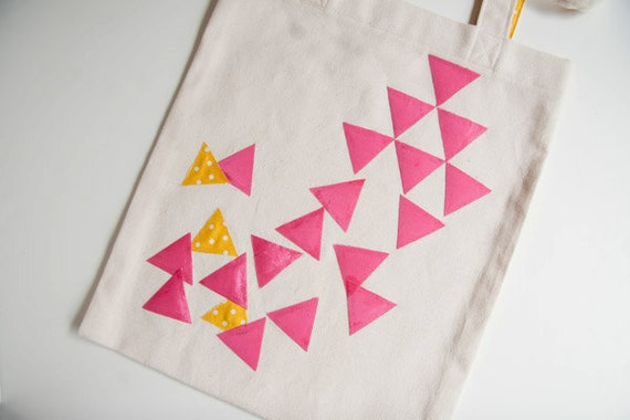 SALE - Organic canvas tote bag with applique hot pink and yellow triangles