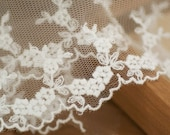 Cotton Daisy Embroidery Tulle Lace Trim 2.63 Inches Wide 1.61 Yards