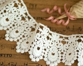 Venice lace Cotton Embroidery Floral Lace Trim 2.36 Inches Wide 1.85 Yards