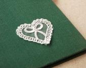 White Lace Appliques Bow Heart Embroidery Appliques 4pcs