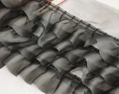4 Row Black Chiffon Fold Lace Trim 3.93 Inches Wide 1 Yard