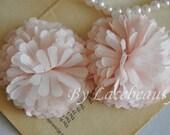Pink Chiffon Flower Ball For Headwear Decor Fashion Costume 2pcs