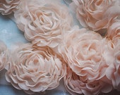 3D Shabby Rose Trim Light Pink Chiffon Camellia Flower Lace 2.75 Inches Wide 14 pcs Flowers