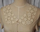 Venice Cotton lace Collar Appliques Beige Floral Emboridey Collars 1 pair